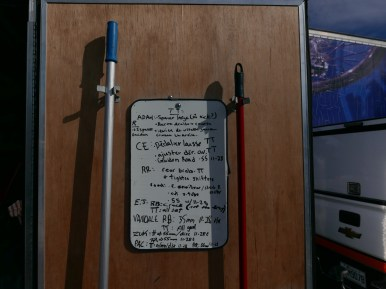Mechanic's notes on trailer whiteboard #racinglife ©Scott McFarlane