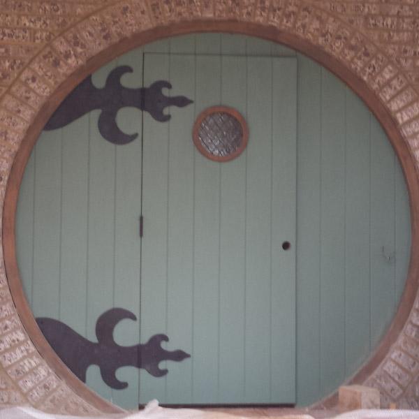 Hobbit Door with Custom Hand-Hammered Hinges