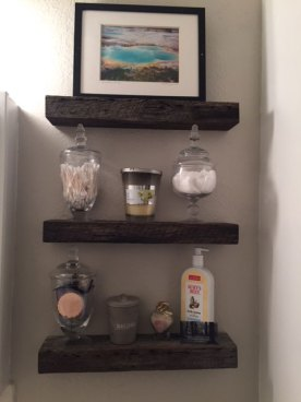 Rustic Floating Shelves installed in a bathroom