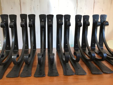 Hand forged scroll brackets, wrought iron