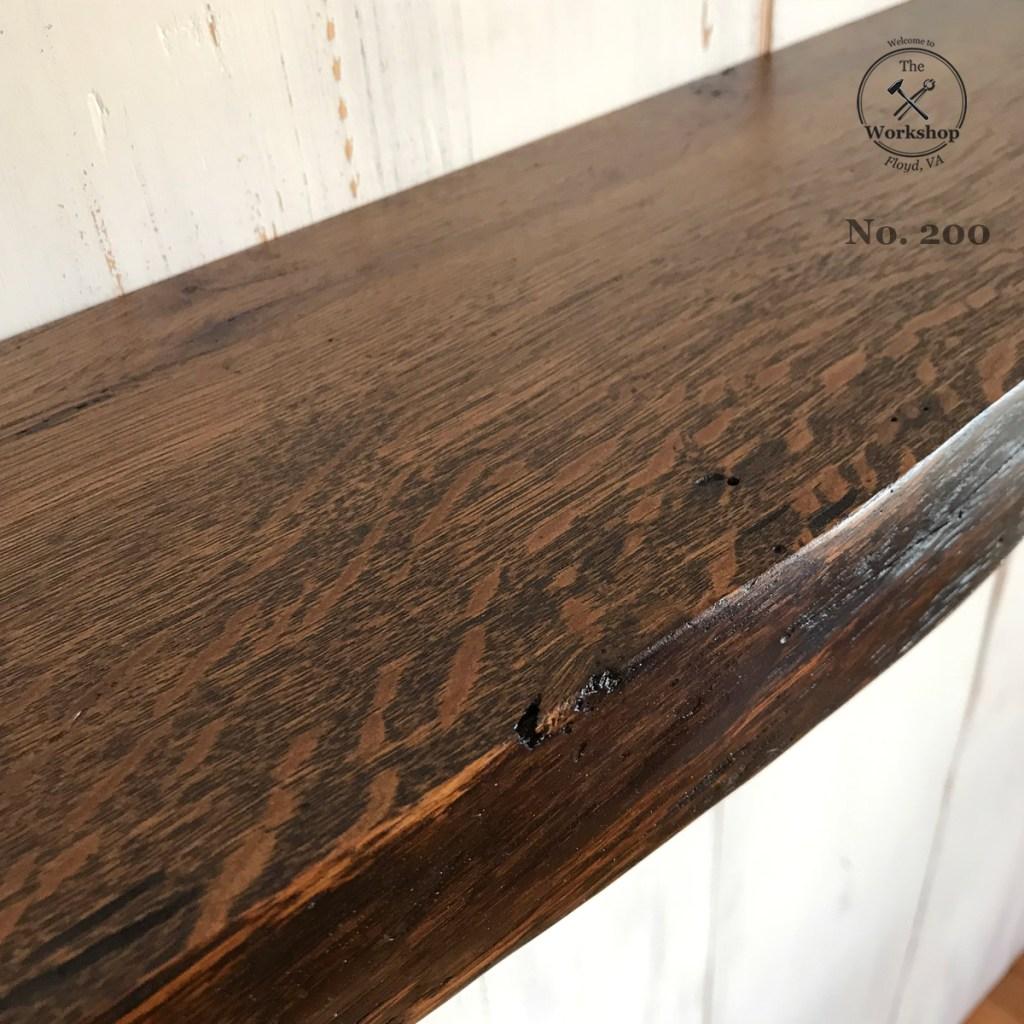 """48"""" Live Edge Reclaimed Wood Antique Oak Floating Shelf, Dark Walnut Finish (Shelf No. 200), Mounting Hardware Not Included"""