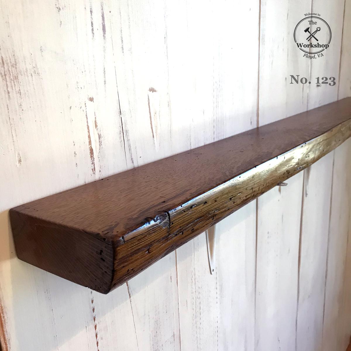 """48"""" Live Edge Reclaimed Wood Antique Oak Floating Shelf, Dark Walnut Finish (Shelf No. 123), Mounting Hardware Not Included"""