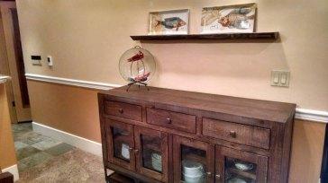 Custom walnut floating shelf with plate groove