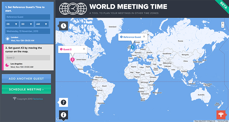 World Meeting Time - an example of flat ui design