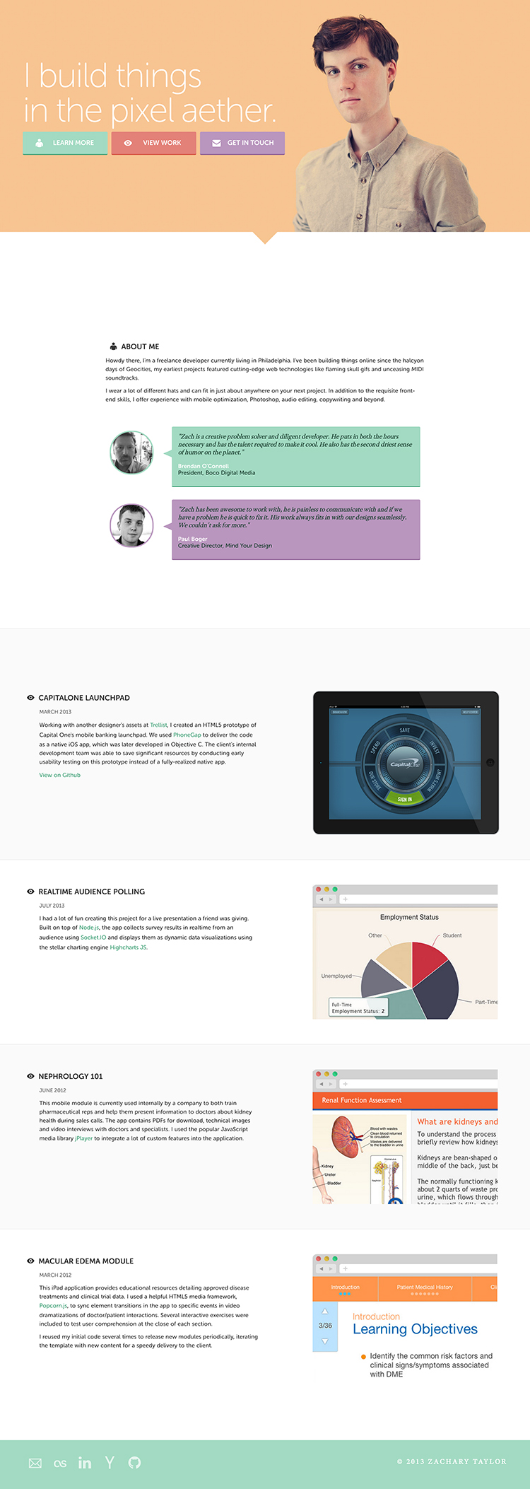 One page portfolio site for Zachary Taylor - an example of flat ui design