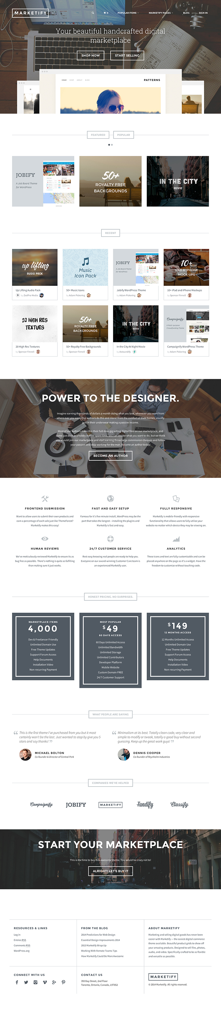 Marketify is a WordPress theme that allows you to create a online marketplace style website