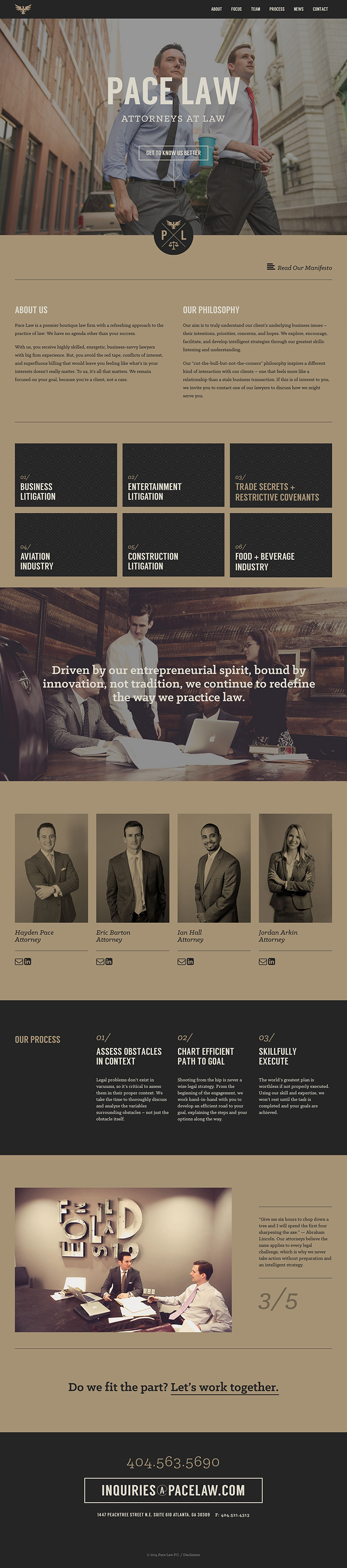A one page flat ui design website for a law firm