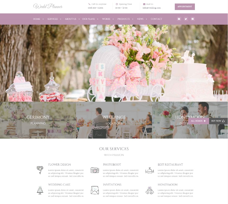 Wedding industry wedding website template
