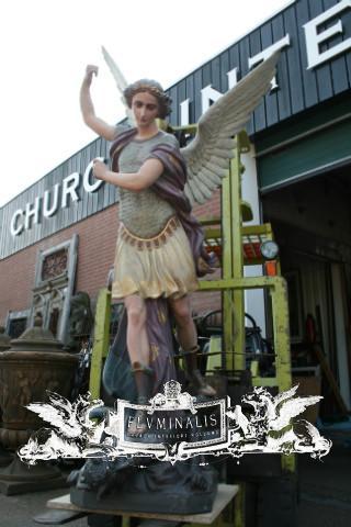 Antique Statue St Michael Life Size Anno 1875 Belgium Angels Fluminalis