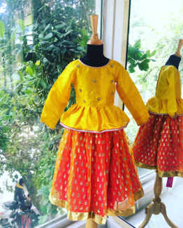 Sunset Hues Ghagra for Little Girls