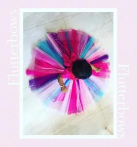 Multicolor Tulle Gown for Little Girl
