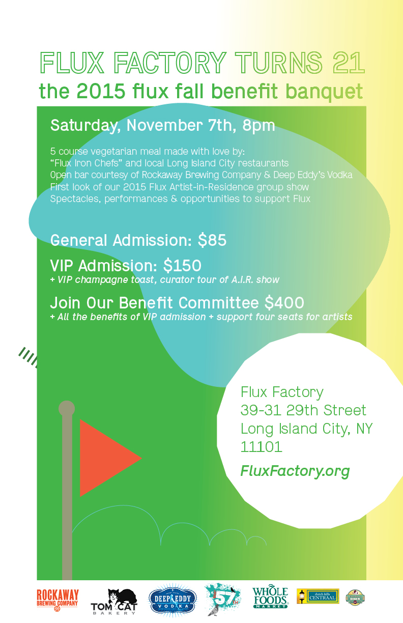Flux Factory Turns 21: The 2015 Flux Fall Benefit Banquet