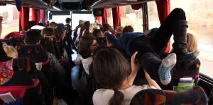 Sunita Prasad crowdsurfing around the bus