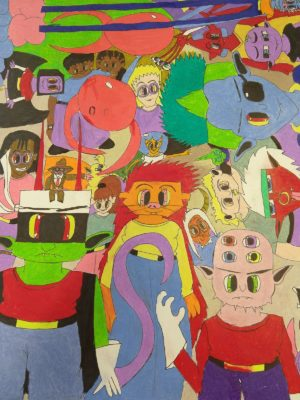 Image Description: Drawing filled with inventive, colorful, cartoonish monsters. Each monster is wildly unique; for instance, some have three eyes, green skin, funky goggles, antennas, or horns. Most monsters are drawn from the belly up, and they are all looking forward, completely filling the page.