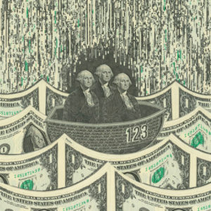 Three dollar bill Washingtons sit in a boat, floating on a sea of dollar bill waves.