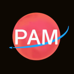 "Image Description: ""PAM"" is written in large, white text in the center of a square image. Behind the word ""PAM"" is a red circle with a curved, blue line that crosses the middle of the circle with a simple, small rocketship-esque symbol at the very end. The background is black."