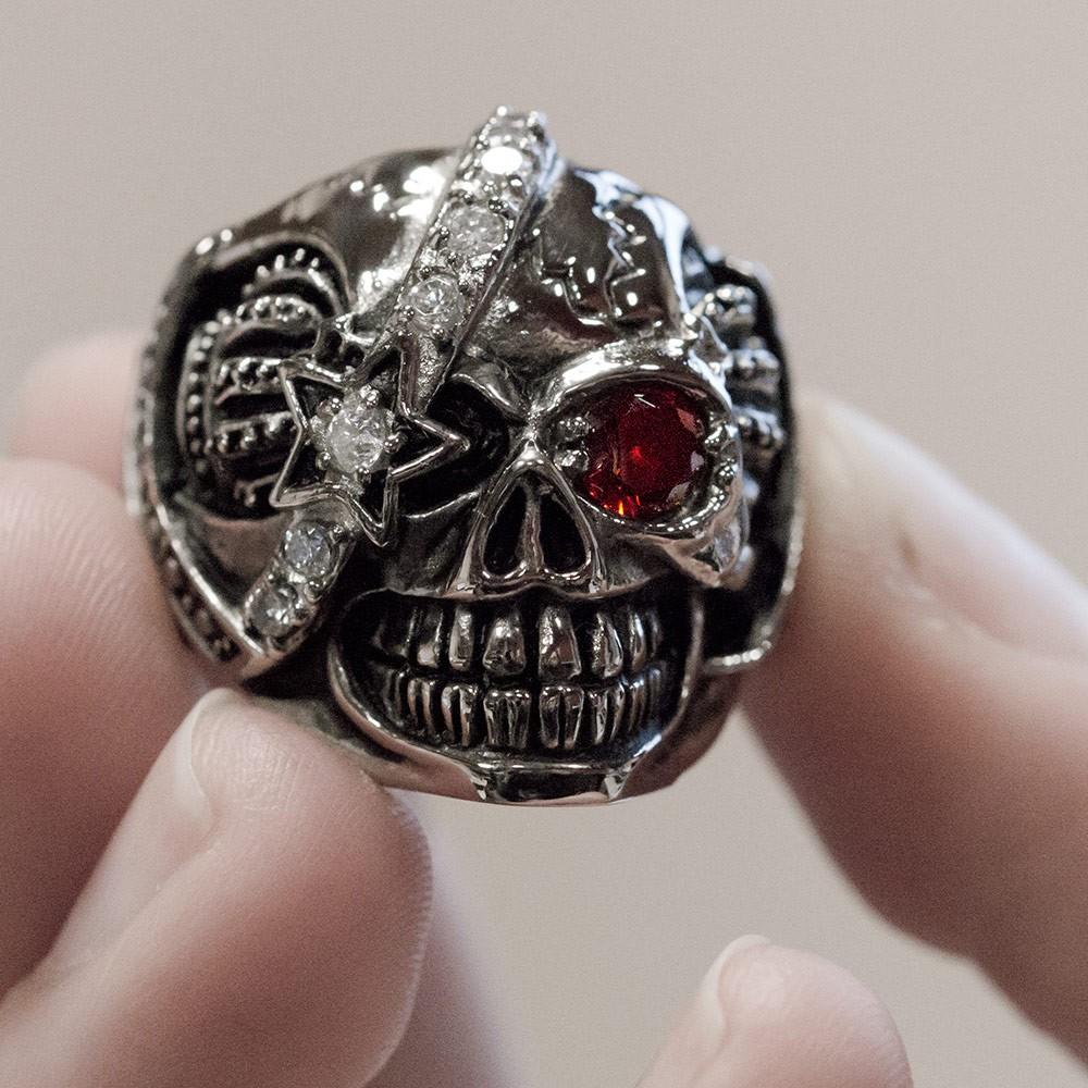 Stainless Steel Skull Ring Royal Pirate Crown Harley Biker