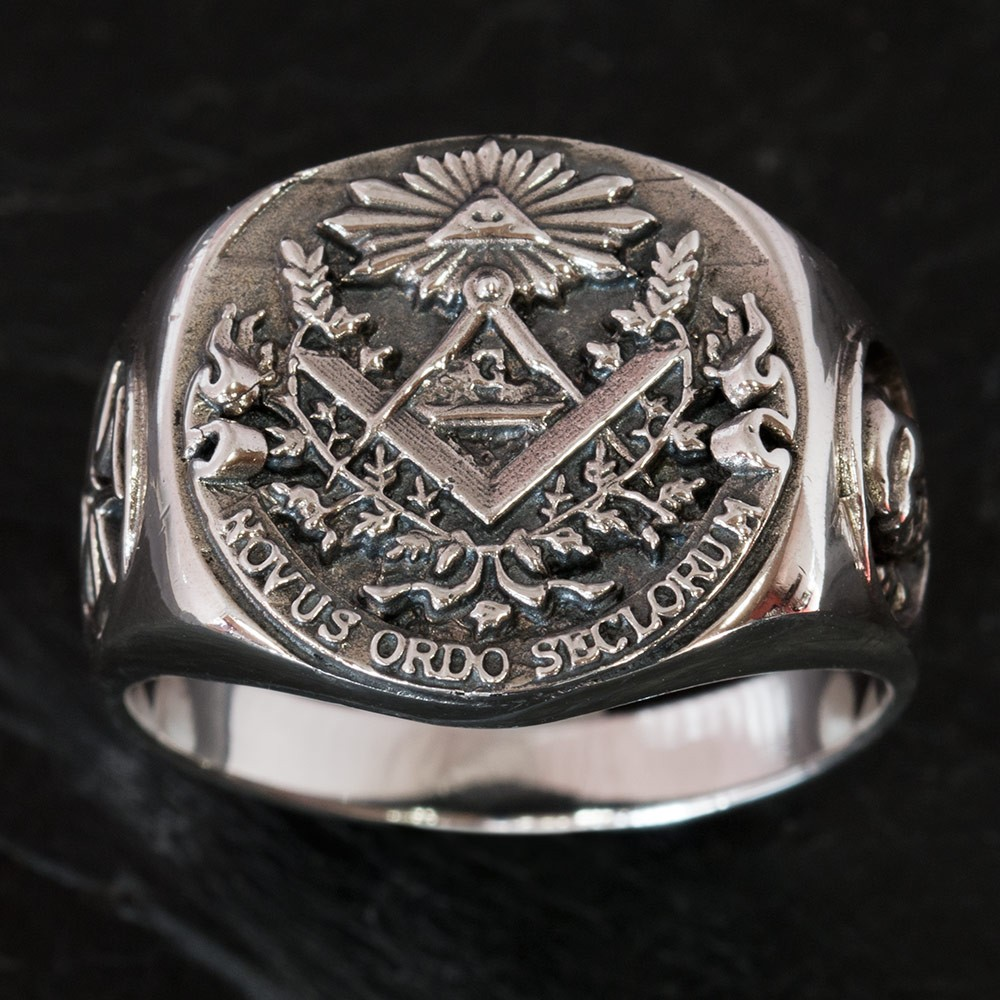 925 SILVER FREEMASON SIGNET RING Knights Templar Cross