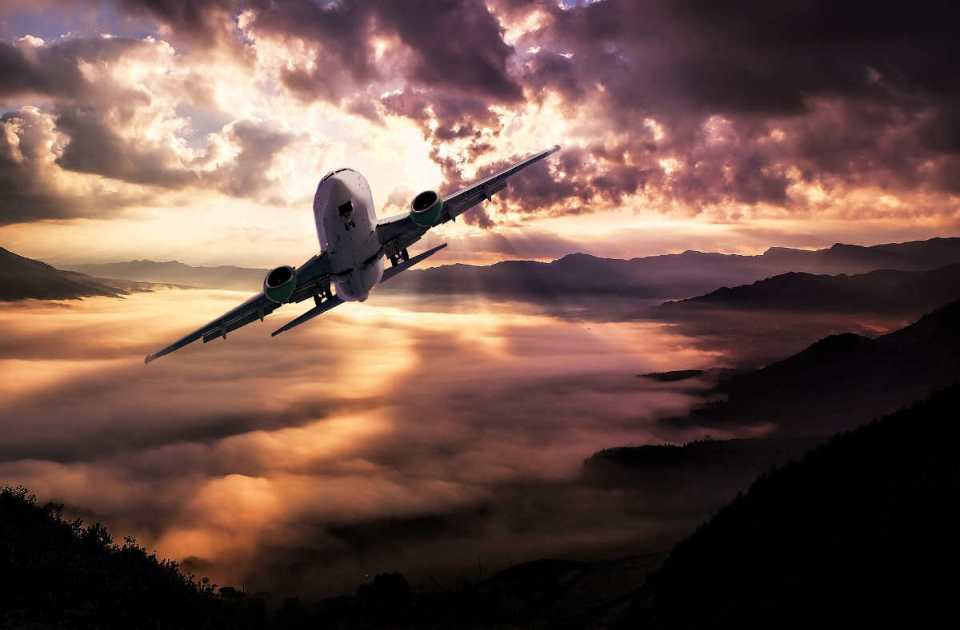 Widok samolot pasażerski