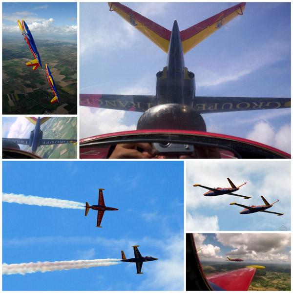 formation flying jet fighter