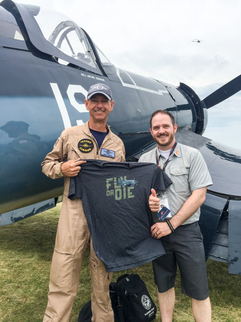 Chuck Garner is a Corsair pilot, among other things (I think he flies just about every warbird!) We may have him on an upcoming podcast. He got a shirt of giving us an awesome backdrop for the reveal