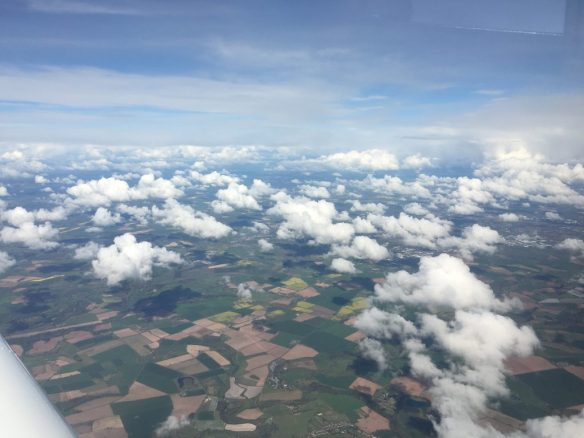 Shortly after take-off from Gloucester, few clouds to woryy about