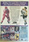 BOBBY ORR AND ERIC LINDROS COLLECTORS CARD ADVERTISEMENT SCORE