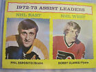 GOOD 1972 73 TOPPS 2 ASSISTS LEADERS PHIL ESPOSITO BOBBY CLARKE
