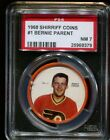 1968 SHIRRIFF COINS 1 BERNIE PARENT RC FLYERS HOF POP 2 PSA 7 H2311861 379
