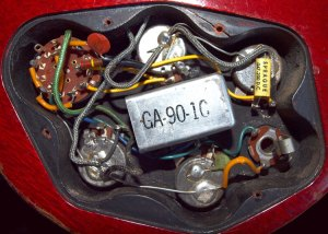 Early 1960s Gibson EB3 circuit image (series 1) >> FlyGuitars