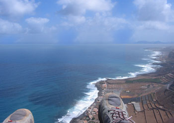 Panoramic shot of the north coast of Gran Canaria, taken while flying on a paraglider over 500 mts above sea level