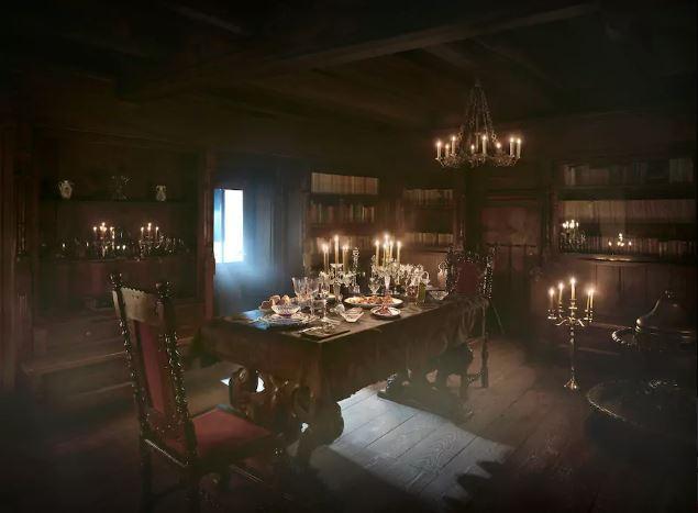 Maaltijd in het kasteel van Dracula
