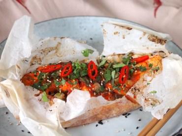 Koreaanse vispakketjes uit de oven met Gochujang
