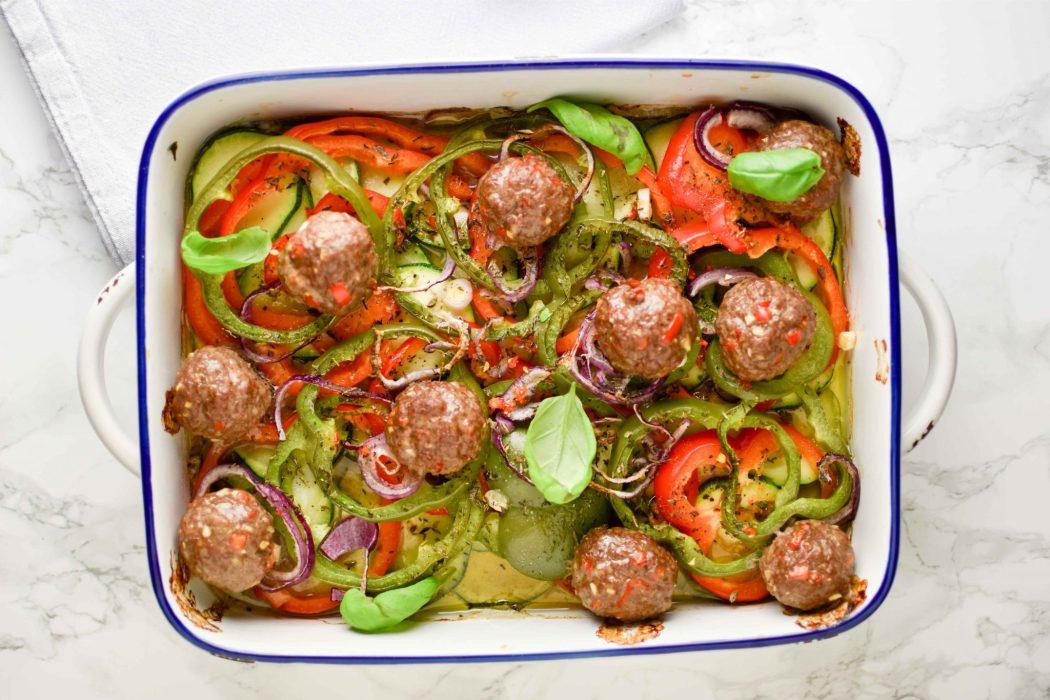 Ovenschotel groenten gehaktballen