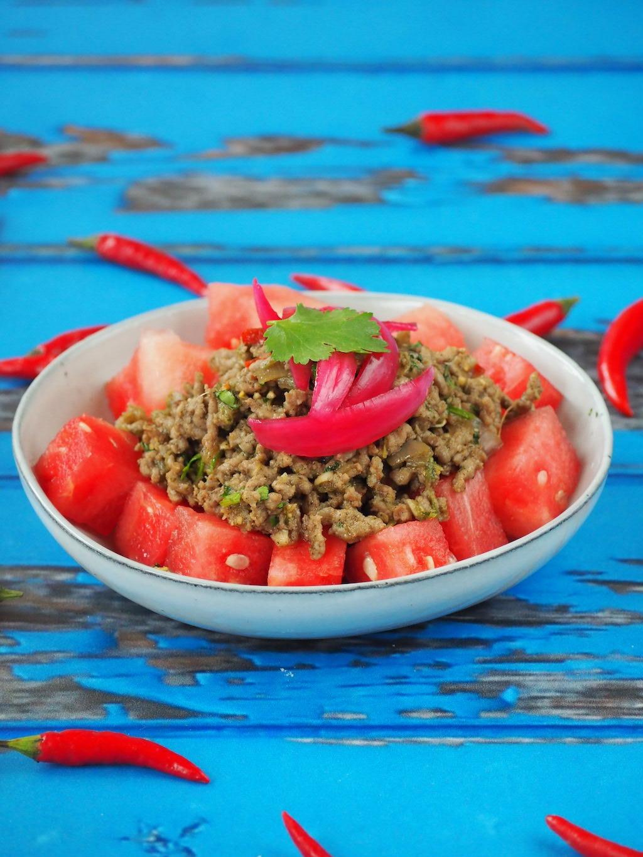 Thaise gehakt en watermeloen salade