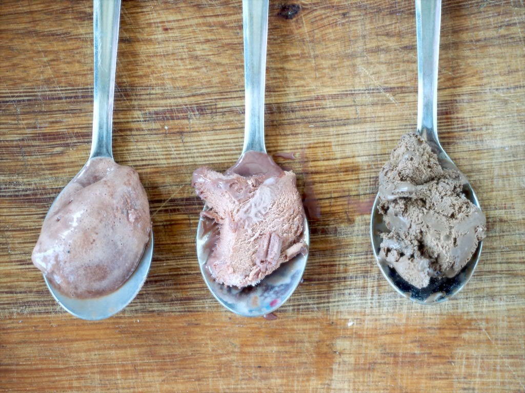 Chocolade ijs met weinig calorieen vergelijken