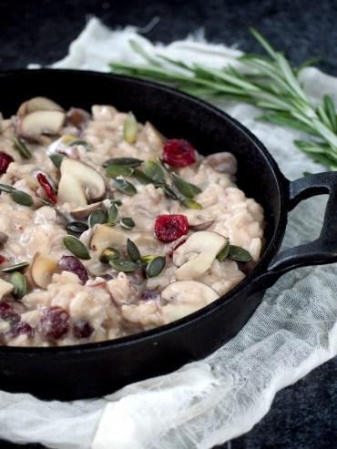 kerst risotto met cranberries en geitenkaas