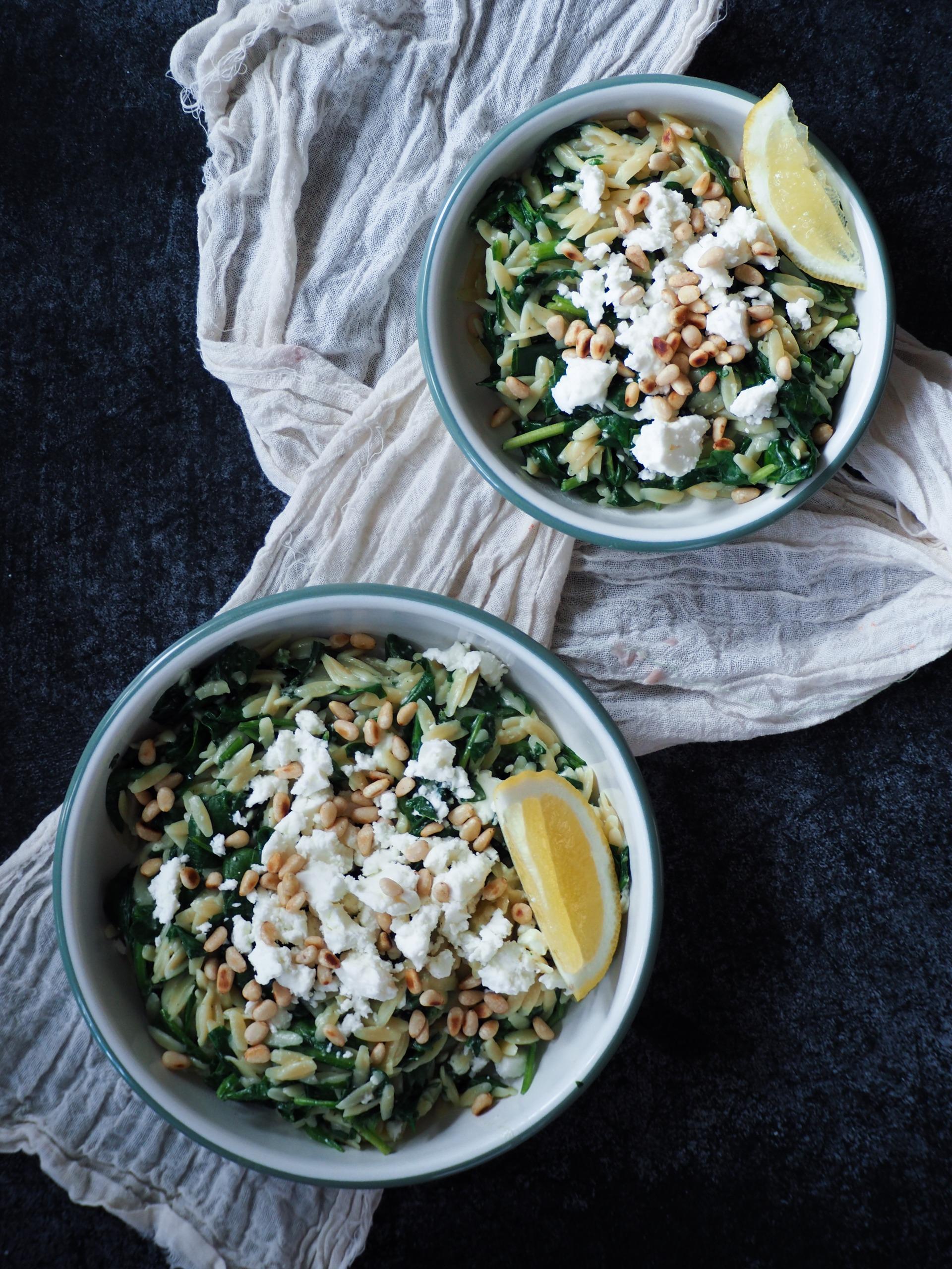 Instant Pot Orzo met spinazie en feta
