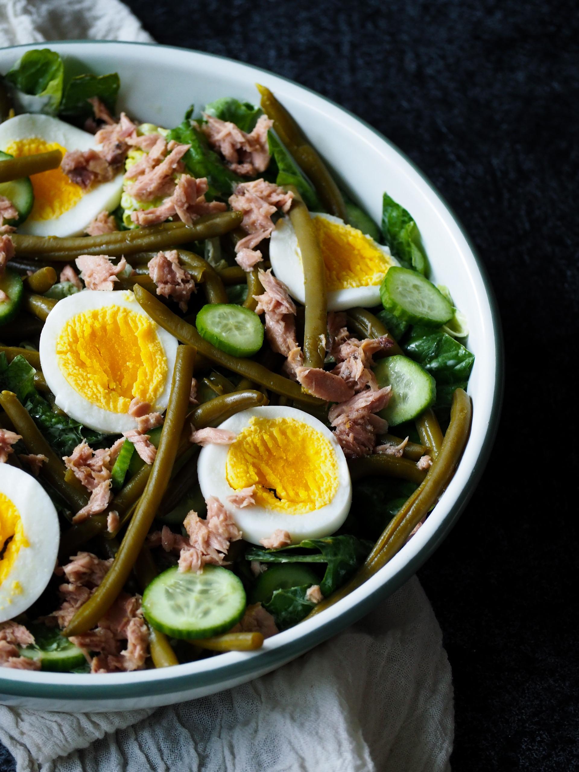 Salade Niçoise tonijn sperziebonen ei