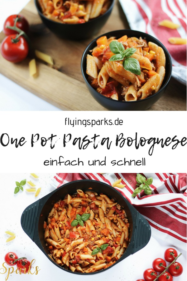 One Pot Pasta Bolognese, Spaghetti Bolognese, Pinterest, einfach, schnell, unkompliziert, easy, fast, Gemüse, Nudelpfanne, lecker, delicious, tomatig