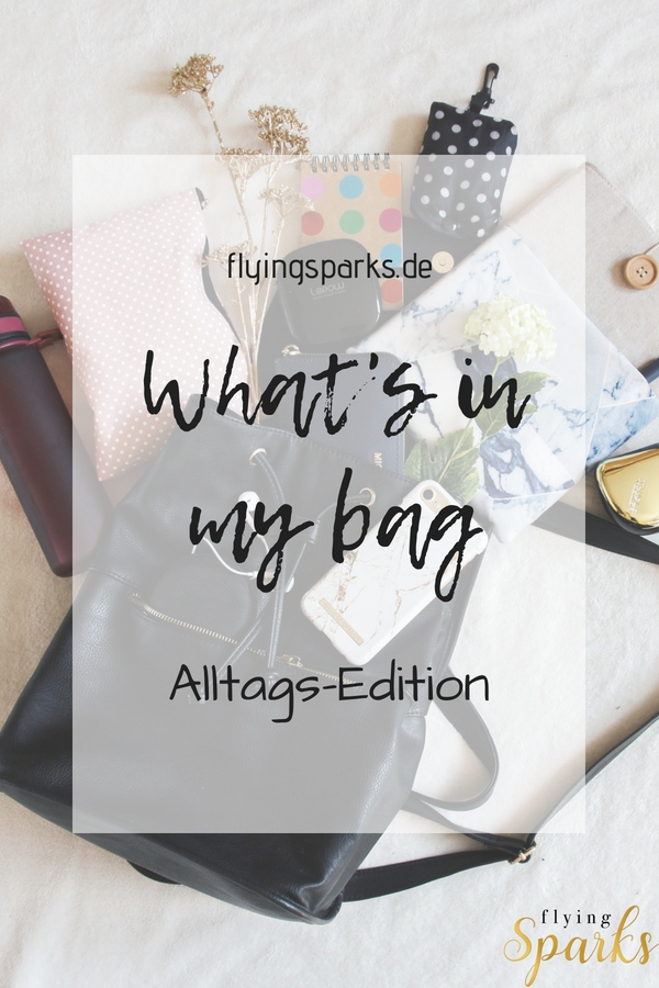What's in my bag, Alltags-Edition, iPhone, Lifestyle, flying sparks, Pinterest, iPad, shopping, backpack, blog, blogpost