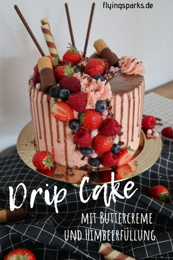 DRIP CAKE mit Buttercreme und Himbeerfüllung, Torte, Muttertag, Muttertagstorte, lecker, Dekoration