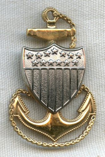Minty 1930s US Coast Guard USCG CPO Hat Badge In Plated Brass Flying Tiger Antiques Online Store