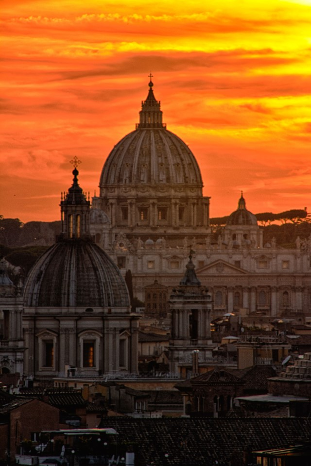 Roman Calendar: A view of Saint Peter's Basilica in Vatican City (full name: The Papal Basilica of Saint Peter in the Vatican).