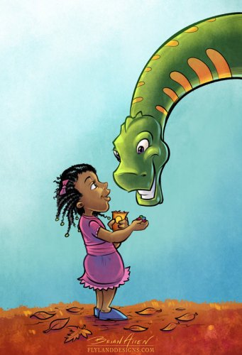 Children's Book Illustration of a dinosaur and little girl