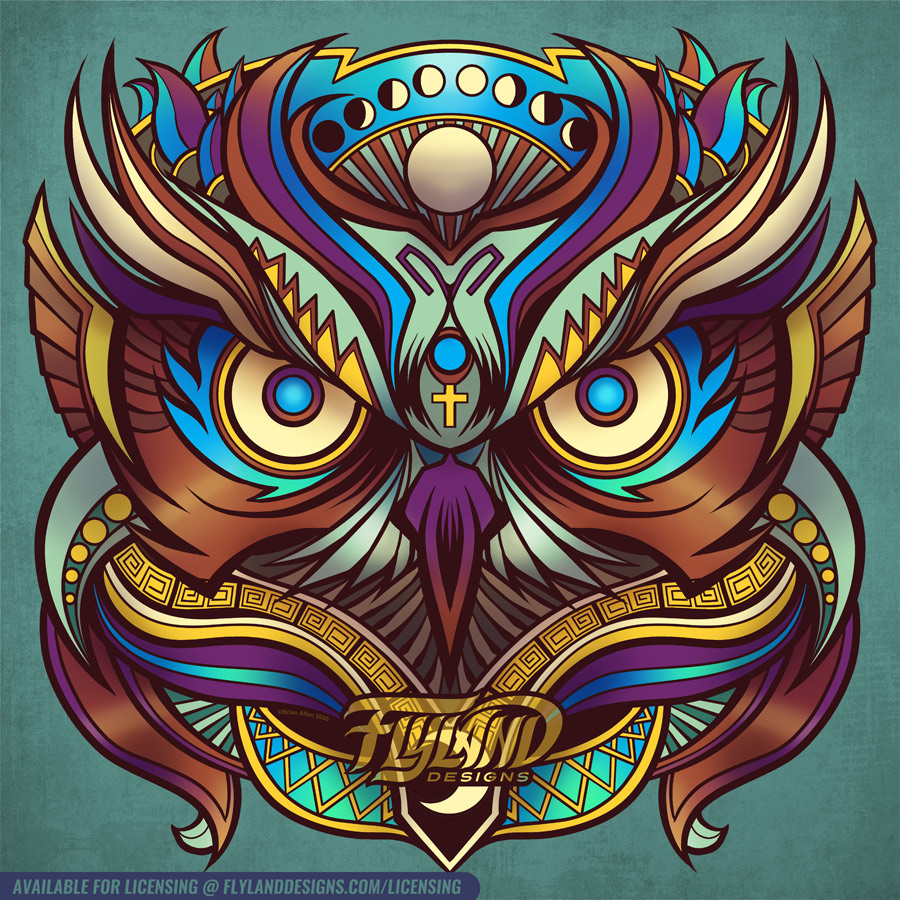 Owl Head with earth tone colors