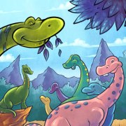 Children's Book Illustration of a dinosaur