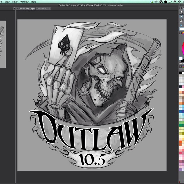 The beginning sketch of a custom logo I created for the racing company Outlaw 10.5.