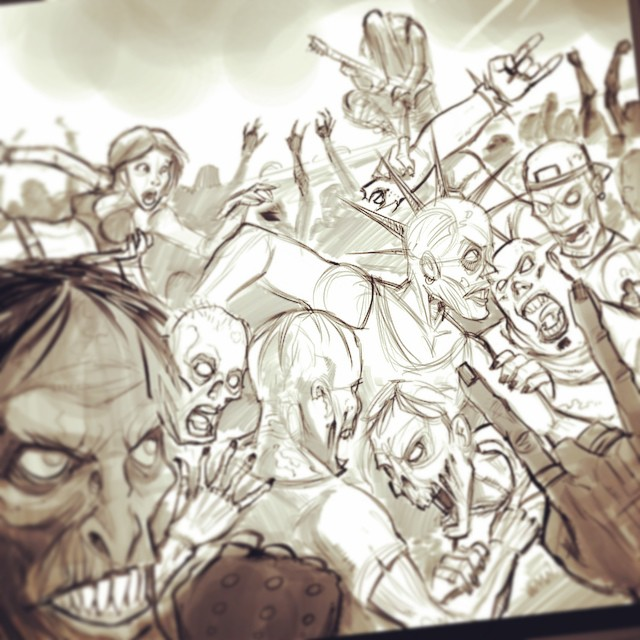 The sketch of a zombie moshpit album cover I did for Listenable Records.