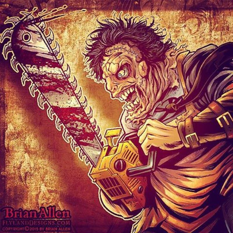 Here's something I created recently in Manga Studio for a client who created a documentary about the history of Horror and Metal.  SO MUCH FUN. #leatherface #horror #texaschainsaw #mangastudio #photoshop #illustration #tshirt #art #instaart #instaartist #picoftheday #igdaily #followme